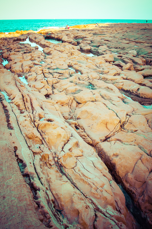 The rocky beach in Sliema